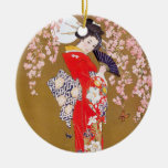 Moonlight and Cherry Blossoms Round Ceramic Ornament