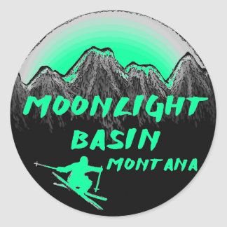 Moonlight Basin Montana skier Classic Round Sticker