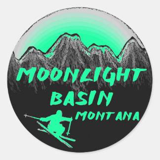 Moonlight Basin Montana skier Round Sticker