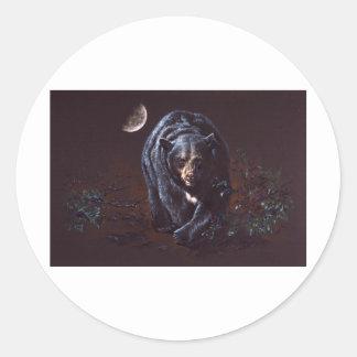 Moonlight Black Bear Classic Round Sticker