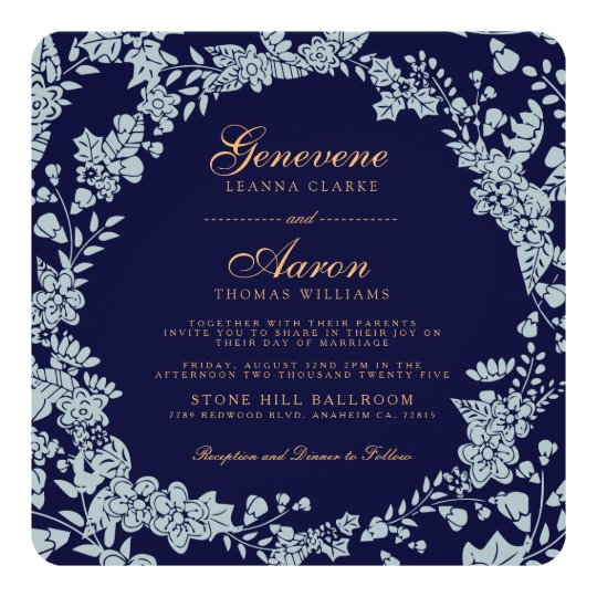 Moonlight Bloom | Deep Navy Wedding Invitation