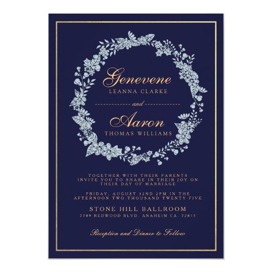 Moonlight Bloom | Deep Navy Wedding Invitation