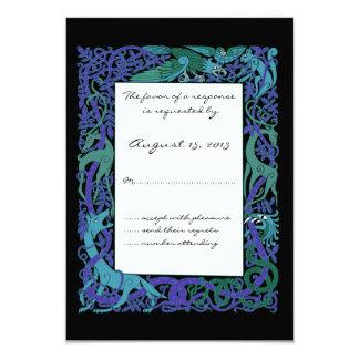 "Moonlight Blue Celtic Animals Design Wedding RSVP 3.5"" X 5"" Invitation Card"