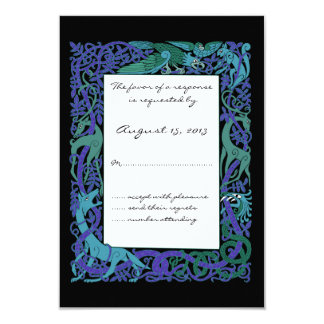 Moonlight Blue Celtic Animals Design Wedding RSVP Card