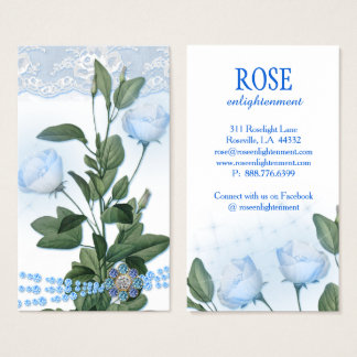 Moonlight Blue Rose Flower Sparkle Lights Business Card