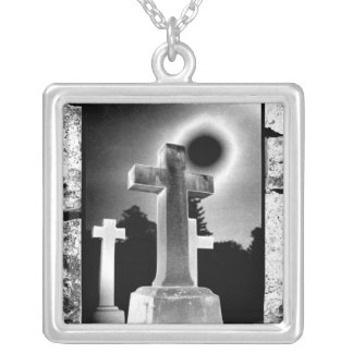 Moonlight Cross Silver Plated Necklace
