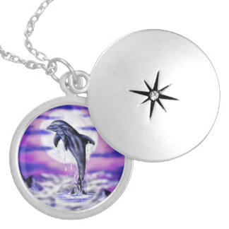 Moonlight dolphin silver plated necklace