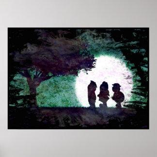 Moonlight Encounter in the Woods Poster Art