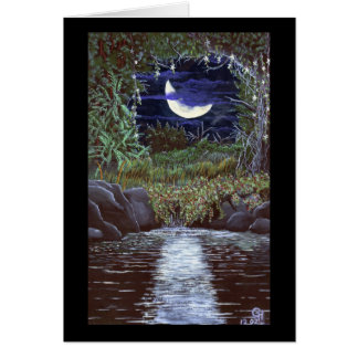 Moonlight Falls Acrylic Color Painting Art Card