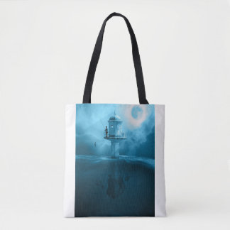 Moonlight Fantasy Fishing Lighthouse Tote Bag