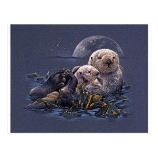 Moonlight Otters Postcard