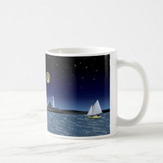 Moonlight Sail Basic White Mug