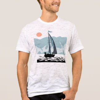 Moonlight Sailing Mens Fitted Burnout T-Shirt