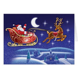 Moonlight Santa and sleigh Christmas card