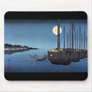 Moonlight Scene on a River With Boats, Hiroshige Mouse Pad