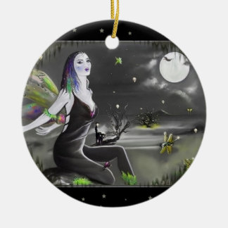 Moonlight Singer Fairy Ceramic Ornament