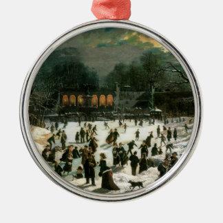Moonlight Skating in Central Park Metal Ornament