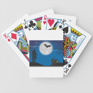 Moonlight sky bicycle playing cards