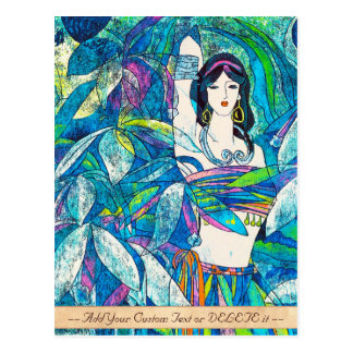 Moonlight Song Hao Ping oriental abstract lady art Postcard