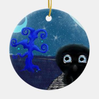 Moonlight stargazing ceramic ornament