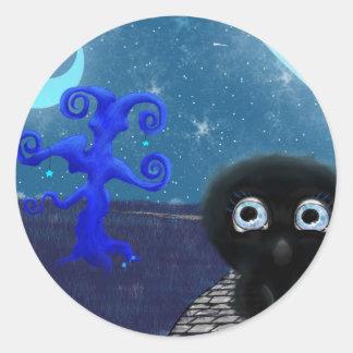 Moonlight stargazing round sticker