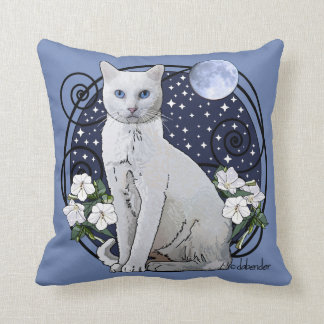 Moonlight, White Cat and Mirabilis Throw Pillow