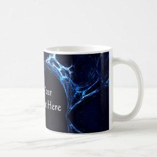 Moonlit Blue Cave, Reflection. Fractal Art. Basic White Mug