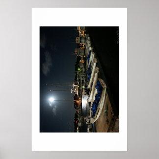 Moonlit Boats Poster
