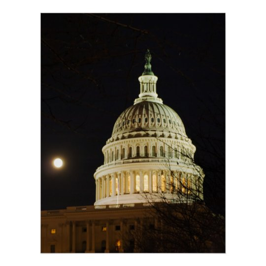 Moonlit Capital Dome Poster