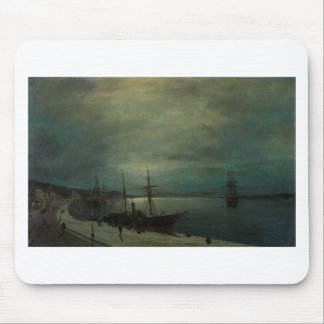 Moonlit harbour by Konstantinos Volanakis Mouse Pad