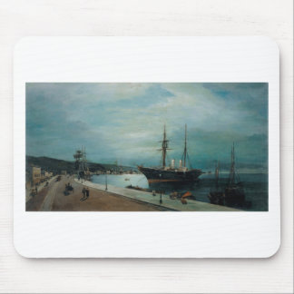 Moonlit harbour of Volos by Konstantinos Volanakis Mouse Pad
