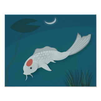 Moonlit Koi Vector Art 14x11 Canvas Poster Print