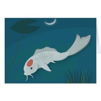 Moonlit Koi Vector Art Blank Card