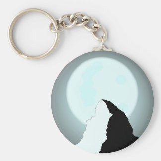 Moonlit Mountain Basic Round Button Keychain