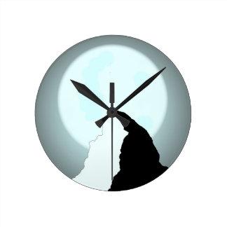 Moonlit Mountain Round Clock