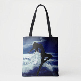 Moonlit Ocean with Silhoutte of Woman Tote Bag