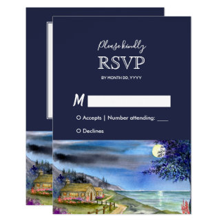Moonlit Path Watercolor Wedding Response RSVP Card