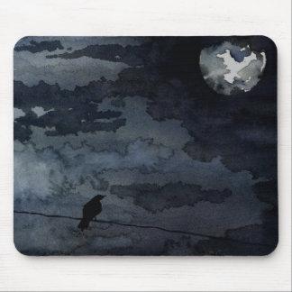 Moonlit Raven - Full Moon Art Mouse Pads