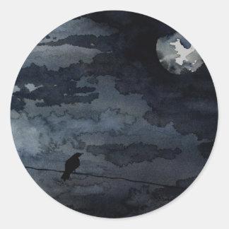 Moonlit Raven - Full Moon Art Round Sticker