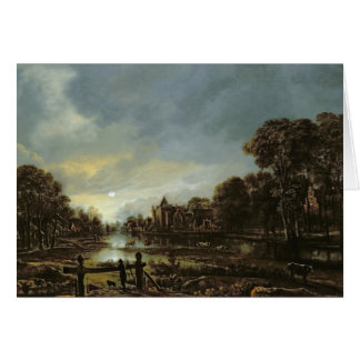 Moonlit River Landscape with Cottages Card