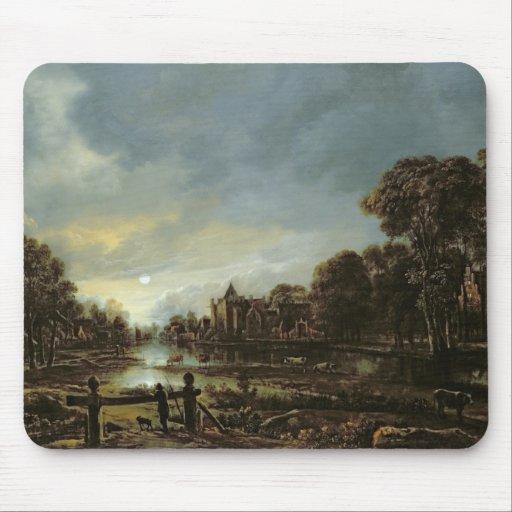Moonlit River Landscape with Cottages Mousepads