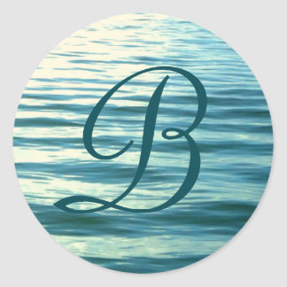Moonlit Sea Monogrammed Classic Round Sticker