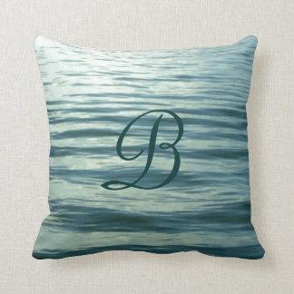 Moonlit Sea Monogrammed Throw Pillow