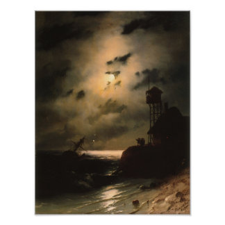 Moonlit Seascape With Shipwreck Poster