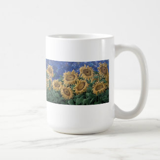 Moonlit Starry Night Sunflower Coffee Mug