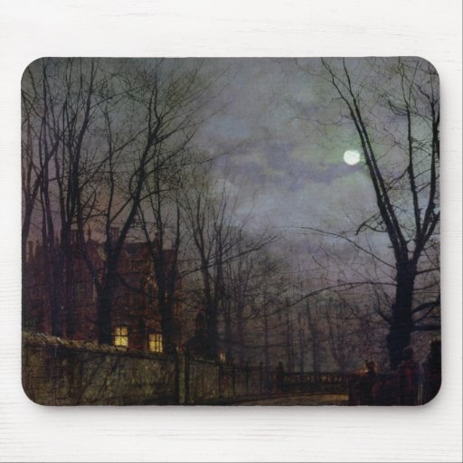 Moonlit Street Scene, 1882 (oil on canvas) 2 Mousepad