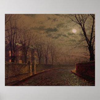 Moonlit Street Scene, 1882 (oil on canvas) Poster