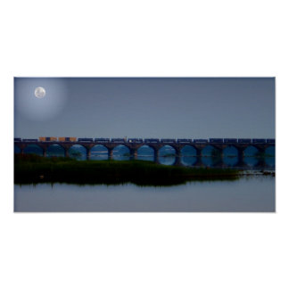 Moonlit Train - Rockville Bridge, PA Poster