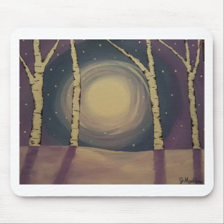 Moonlit Winter Birch Trees Mouse Pad