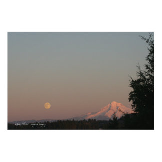 Moonrise and Mt. Hood Photographic Print